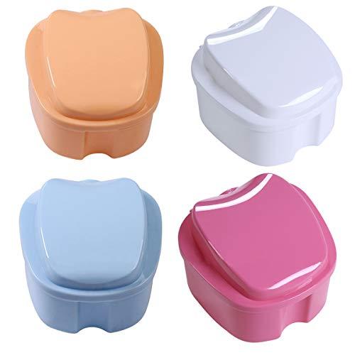 Zahnprothese Box,Xiuyer 4 Stück Zahnprothesendose Prothese Teeth Aufbewahrungsbox Falsche Zähne Reinigungsbox mit Hängenden Sieb(Hellblau Beige Weiß Pink)