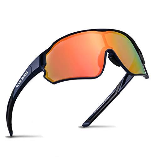 ROCKBROS Fahrradbrille Polarisierte Sportsbrille HD Bunte Sonnenbrille mit UV-Schutz Winddicht Radsportbrille für Radfahren Laufen Angeln Golf Wandern Herren Damen Dunkelblau