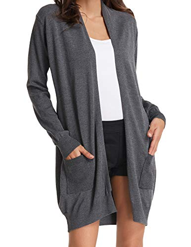 Women's Casual Loose Long Open Front Sweater Cardigans with Pockets Gray XXL