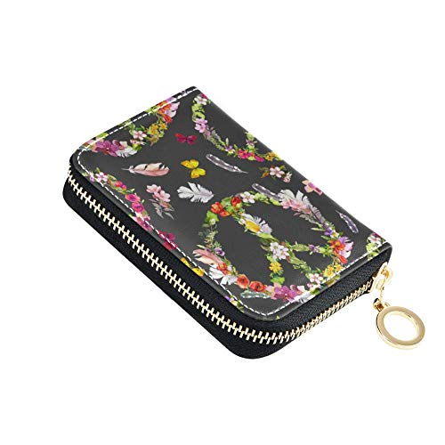 CreditCardHolder Peace Sign Flowers Butterflies Feathers Hippy CardPurseWallet Pu Leather Zip-Around Compact Size CardPurseWallet for Women Ladies Girls Minimalist Accordion Wallet