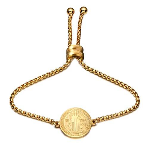 HQLCX Pulsera de Acero Fino Oro para Las Mujeres Medalla de San Benito Charm Pulsera Católica Religiosa Medallas Mano Accesorios de Joyería