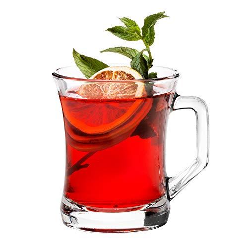 Tazas de vidrio para bebidas calientes con asa, 7 ½ onzas de bebidas calientes o frías, taza de té de cristal, vasos de té turco, juego de 6