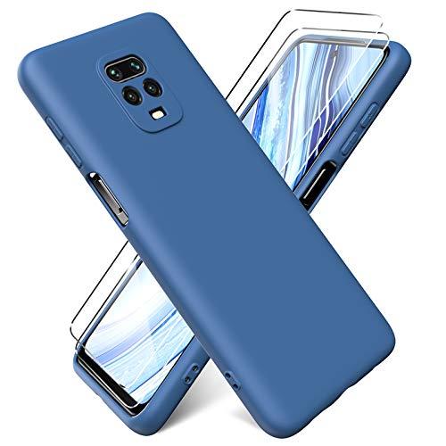 Oududianzi - Funda para Xiaomi Redmi Note 9S / Note 9 Pro + [2 Pack] Protector Pantalla, Carcasa de Silicona Líquida Gel Ultra Suave Funda con tapete de Microfibra Anti-Rasguño - Azul