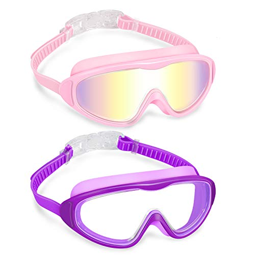 Vorshape Kids Swim Goggles (Age 4-14), 2 Pack Wide Vision Swimming Goggles for Boy & Girls, 100% UV Protection, Wide View, No Leaking, Anti Fog