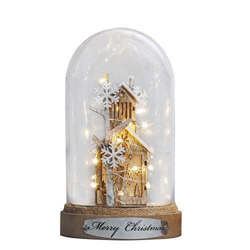 Valery Madelyn 23cm Glaskuppel LED Lichterkette Weihnachten Beleuchtung Glasglocke Weihnachtsdeko Lampe mit Holzboden Batteriebetrieben Nachttischlampe für Weihnachtsschmuck MEHRWEG Verpackung