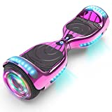 KAPAS Hoverboard (HS 2.0v), Chrome Color Hooverboard Bluetooth Speaker Huverboard with LED Light Flashing Wheels Self Balancing Electric Scooter by Certificated (Chrome Pink)