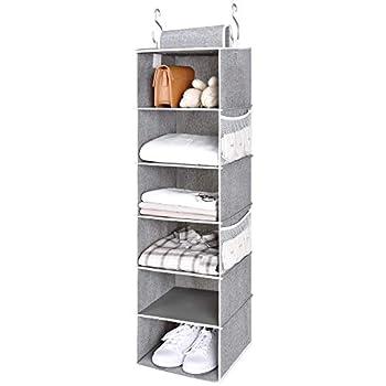 "StorageWorks 6-Shelf Hanging Closet Organizer Hanging Shelves for Closet Canvas Gray 12""W x 12""D x 42""H"