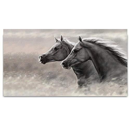 Zhaoyangeng Grijs twee paarden lopen canvas schilderijen dieren schilderijen voor woonkamer wand kunstdruk moderne wooncultuur - 50 cm x 80 cm niet-ingelijst