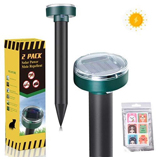 Mole Repellent,2 Pack Solar Powered Snake Repellent for Outdoors Pet Safe,Snake Repellent for Outdoors,Groundhog Repellent,Vole Repellent,Gopher Repellent Ultrasonic for Lawn Garden & Yard Home