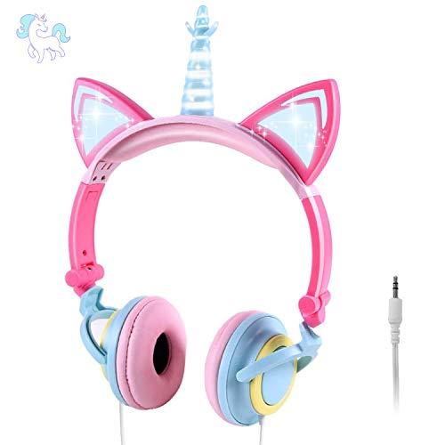 ONTA Auriculares para Niños con Orejas de Gato Iluminados con LED Plegables sobre Oído, Auriculares Resplandor Unicornio para Niños para la Escuela, la Casa, Cable Sin Enredos (Polvo Azul)