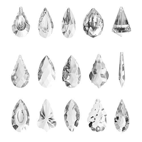Herefun Kristall Sonnenfänger, 15er Pack Feng Shui Sonnenfänger klar Kristall Kronleuchter Kristall Glas Prisma Anhänger Lampen, Kristalle Als Dekoration