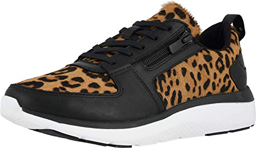 Vionic Women's Delmar Remi Walking Shoes - Ladies Casual Sneakers with Concealed Orthotic Arch Support Tan Leopard 7.5 Medium US
