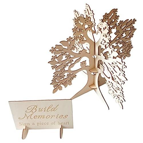 Hölzerne Hochzeit Wishing Tree Hochzeit Gästebuch aus Holz Herzen Holz-Baum-Rahmen Gästebuch Baum für Trauung Hochzeit Dekorationen