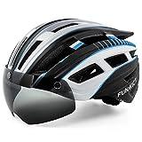 FUNWICT Casco Bicicleta Hombre Casco MTB con Gafas Magnéticas Extraíbles y Forro Interior Casco Bicicleta con Luz Trasera LED para Ciclismo 57-61 CM (Blanco Negro)