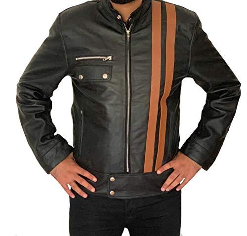Classyak Chaqueta de moto de estilo exclusivo de cuero auténtico para hombre