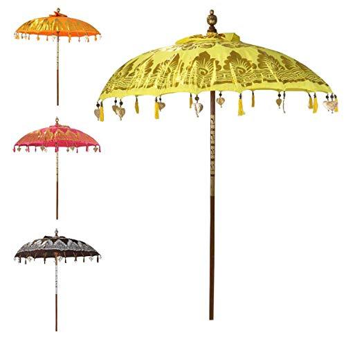 Oriental Galerie Bali Sonnenschirm Balinesischer Garten Schirm Baumwolle Sonnenschutz Handarbeit Retro Vintage Dekoschirm 2-teilig ca.180cm Ø Doppelte Bemalung, Farbe:Nr.1