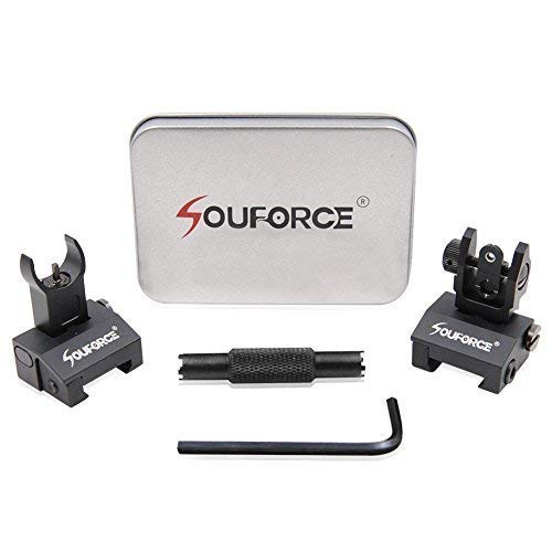 SOUFORCE Flip Up BUIS Picatinny Rail Mounted Backup Iron Sights for Rifle Includes Front Sight Adjustment Tool
