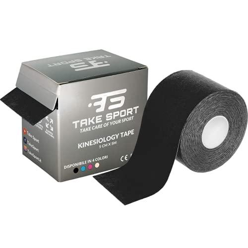 Nuova confezione! TAKE SPORT®, Kinesio tape, Cerotto kinesiologico, Tape kinesiologico, Kinesio taping. 1 rotolo, 5 x 5m, 95% Cotone 5% Spandex, elastico. (nero/black)