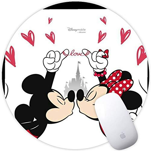 DISNEY COLLECTION Mouse Pad Round Mouse Pad Mickey and Minnie Couple Wallpaper Anti Drop
