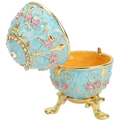 Caja de huevos de Pascua esmaltada, hecha a mano, estilo vintage, de metal pintado, esmaltado, decorativo, caja de joyería de huevos de Pascua, para decoración de escritorio, adornos para el hogar