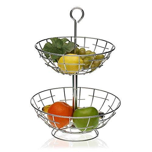 Versa - Frutero de acero inoxidable con 2 estantes para frutas, para cocina, bar, restaurante