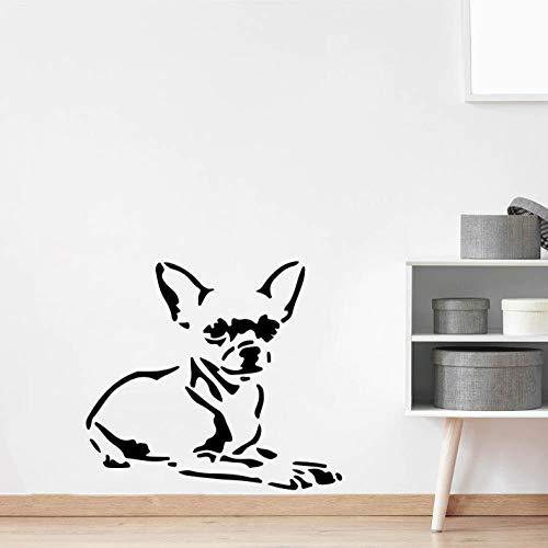 Wandaufkleber 57X52 Cm Cartoon Chihuahua Wandtattoo Dekoration Selbstklebende Pvc-Aufkleber Wanddekoration Wohnzimmer Diy Familie Dekoration Abnehmbare Wandkunst