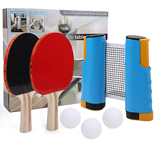 Lowest Price! IAMGlobal Ping Pong Paddle Set with Retractable Net, 2 Premium Paddles Rackets, 3 Tabl...
