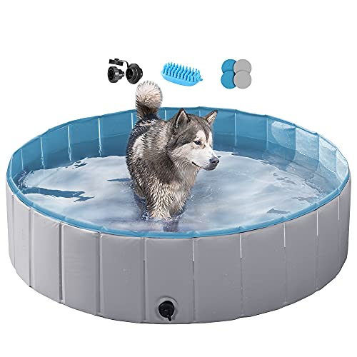 YAHEETECH Gray Hard Plastic Dog Pools for Small Medium Dogs Puppies Pet Collapsible Bath Bathing Pool Tub for Outdoor/Home Use, Pet Brush&Repair Patches Included, L