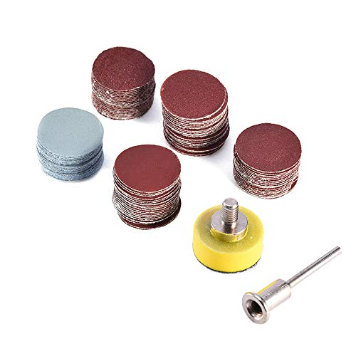 "Saiper 100pcs 1 Inch/25mm Sanding Discs Pad Sander Disk Kit with 1/8"" Shank Abrasive Polish Pad Plate for Dremel Rotary Tool, 100/180/240/1500/3000 Grit Paper"