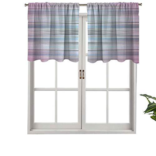 Hiiiman Cenefa moderna para ventana, líneas paralelas de diferentes colores con interior, juego de 2, paneles opacos decorativos para el hogar de 137 x 60 cm
