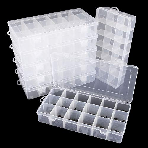 8 Pack 18 Grids Jewelry Dividers Box Organizer Adjustable Clear Plastic Bead Case Storage Container