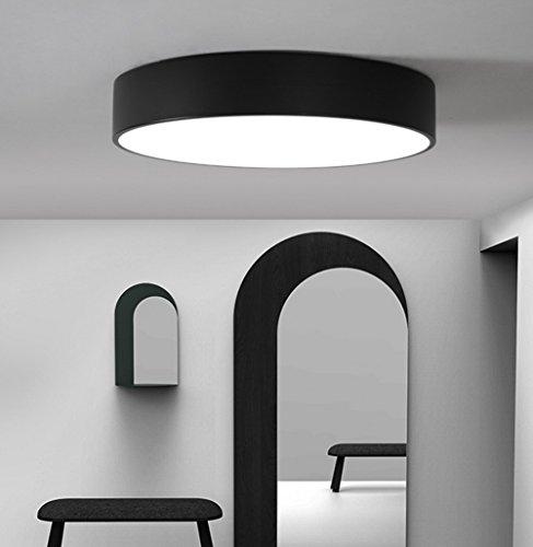 Nordique LED Salon Plafonnier Moderne Minimaliste Chambre Lampe Étude Restaurant Couloir Allée Ronde Lumière , black , 50*50cm