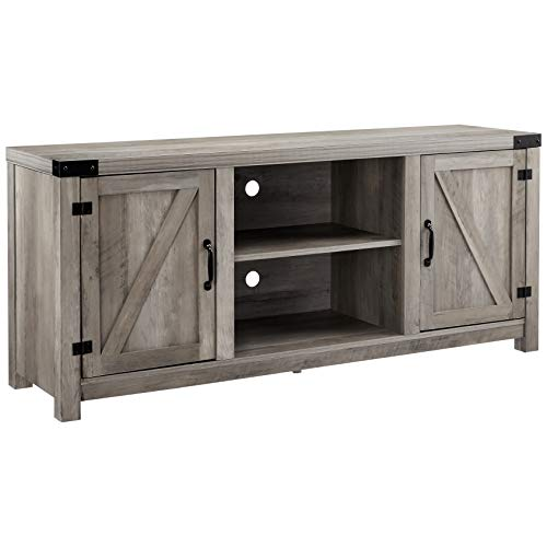 ROCKPOINT 58inch Barn Door TV Stand Entertaiment Media Console Center Industrial Style , Grey Wash