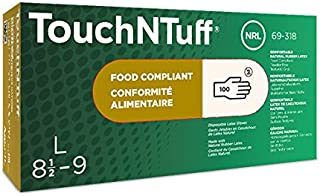 TouchNTuff 69-318 Latex Glove, Powder Free, Disposable, Rolled Beaded Cuff, 9.5