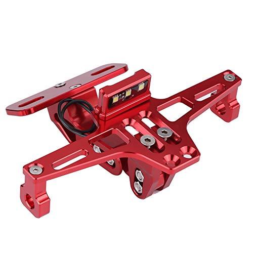 Qiilu Motorcycle Adjustable Aluminum License Number Plate Frame Holder Bracket with Light(red)