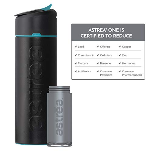 astrea ONE Premium Stainless Steel Filtering Water Bottle, 20 Oz, Meets NSF/ANSI Standards 42, 53, and 401, Independently Certified, (New & Improved) (Black/Blue)