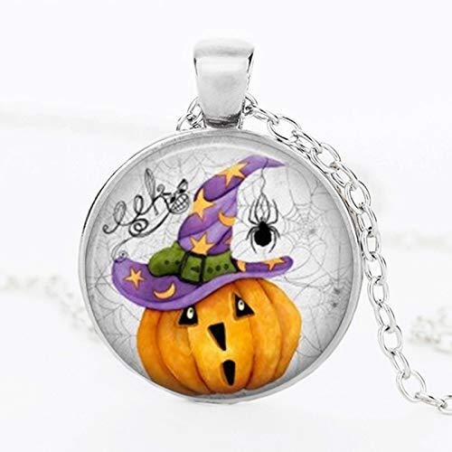 WYFLL Halloween Kristall Halskette Schwarz Fliesen Glaskuppel Anhänger Halloween Kürbis Muster Halskette Hand Modeschmuck