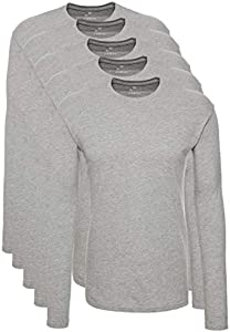 Lower East Camiseta de manga larga Hombre, Pack de 5, Gris, XL