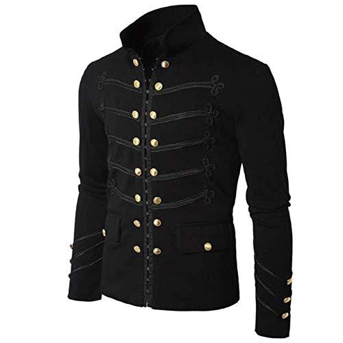 Borje Men's Officer Uniform Military Drummer Parade Jacket Costume Party Outerwear Black
