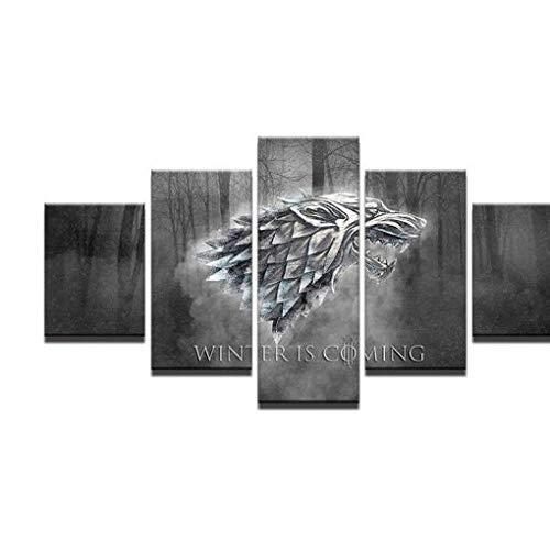 LVLJ 5 Teilig Leinwandbilder Bild Game of Thrones Filmauf Leinwand Wandbild Kunstdruck Wanddeko Wand Wohnzimmer Wanddekoration Deko Landschaft Tiere Natur