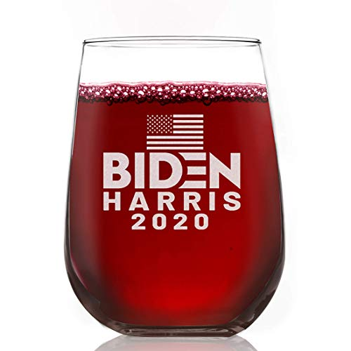 DEMS for USA Biden Harris 2020 Wine Glass Stemless | 15oz Commercial Chip Resistant Tumbler | Made in America