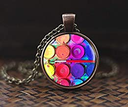 Bloody devil Artist Palette Necklace, Rainbow Paint Palette Jewelry, Artist Necklace, Color Paint Brush, Painter Gift Art Teacher Art Student