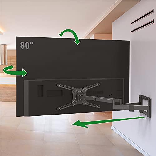 Barkan 1 Meter lang TV Wandhalterung, 13 - 80 Zoll Doppelarm, Schwenkbar / Vollbewegung flach & Curved Fernseher TV Halterung, hält bis 50Kg, Extra stabil, 101cm, für LED OLED LCD, Max. VESA 600x400
