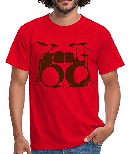 Schlagzeug, Drums, Drummer, Schlagzeuger, Musik, Instrument, Double bass Männer T-Shirt, XL, Rot