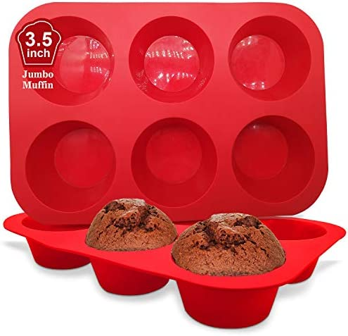 Walfos Silicone Texas Muffin Pan Set 6 Cup Jumbo Silicone Cupcake Pan Non Stick Silicone Just product image