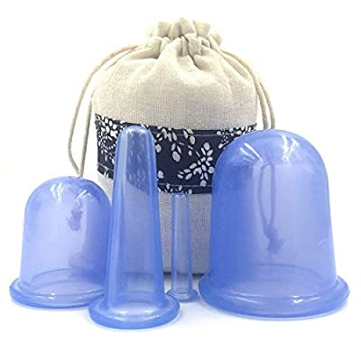 Duomi Cupping Therapy Set for Face - Double Chin Reducer - Face Cupping Set - Ideal to Cup Your Cheeks, Chin and Lips - Facial Cupping Sets - Anti Cellulite Silicone Cups Kit - Blue