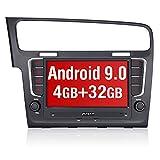 Pumpkin Android 9.0 Autoradio für VW Radio Golf 7 (ab 2012 -) mit Integriertes DAB + Modul Unterstützt Bluetooth Navi USB Android Auto WiFi 4G MicroSD 2 Din 8 Zoll Bildschirm