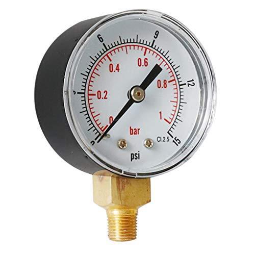 Manometer, 1/8 BSPT Anschluss von unten, 0-15PSI, 0-1Bar, passend für Druckminderer/Wasserfilter/Sandfilteranlage