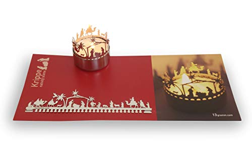 13gramm Krippe Orient Windlicht Schattenspiel Geschenk, 3D Edelstahl Aufsatz für Kerze inkl. Karte