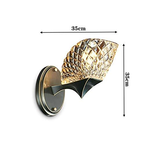 YLCJ wandlamp koper woonkamer slaapkamer wandlamp kristallen halle achtergrond wandlamp zwart koper wandlamp (groen: B (dubbele kop))